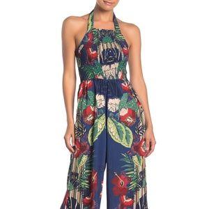 Angie Smock Halter Floral Print Jumpsuit w/pockets
